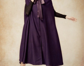 purple wool hooded cape, maxi hooded cloak, winter coat jacket, cashmere wool cape coat jacket for christmas