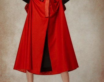 Wool Cloak Cape in Red, Hooded Wool Coat, Hooded Jacket, Red Coat,Little Red Riding Hood, Wool Cloak, Maxi Coat, Cashmere Coat, Christmas