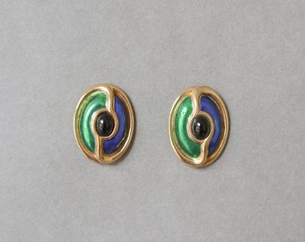 Vintage gold golden green purple cabochon earrings fashion 80s 90s jewelry costume gold