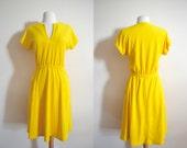 1970s Bright Yellow Terry Cloth Dress, V Neck, Short Sleeve, Midi Length, Beach Dress, Summer
