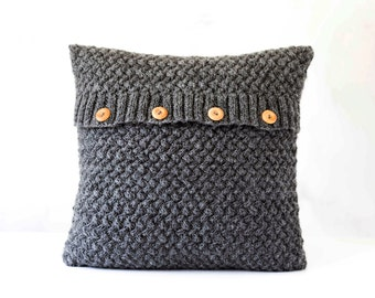 Grey knitted pillow cover - knit chunky pillow - minimalistic style knit pillow cover - hand knitted cushion case for interior 0291