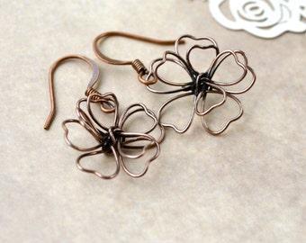Copper Flower Earrings, Dangle Earrings, Metal Earrings Wirework Copper Jewelry, Copper Flower Drop Earrings, Gifts under 15, Best Sellers