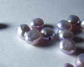Light Lavender Purple Pearl Flat Oval Beads 6mm