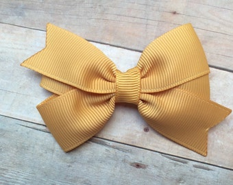 3 inch gold hair bow - gold bow, 3 inch bows, girls hair bows, toddler bows, girls bows, baby bows, hair clips