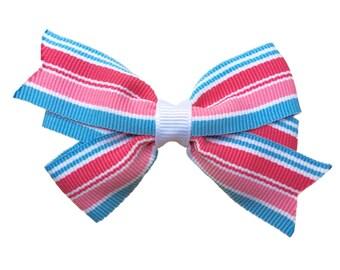 Pink & blue hair bow - hair bows, girls bows, girls hair bows, baby bows, 3 inch hair bows, toddler bows, pink hair bow, pink bow, hair bow