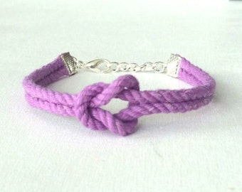 Adjustable Nautical Twisted Rope Knot Bracelet Light Purple Lavendar Lilac Tie The Knot Bracelet