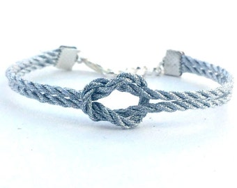 Adjustable Nautical Rope Knot Bracelet Metallic Silver Tie The Knot Bracelet