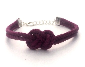 Raspberry Infinity Nautical Rope Bracelet Figure Eight Knot Bracelet Tie the Knot Bracelet Bridesmaid Gift Wedding Favor Tying the Knot