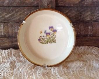 Vintage Ashtray Trinket Candy Dish 1970s Japan Violas Flowers