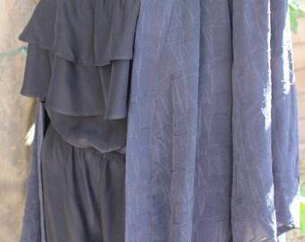 Textured Black Silk Crepe Boho Duster, Free Size Boho Kimono, Handmade Kimono
