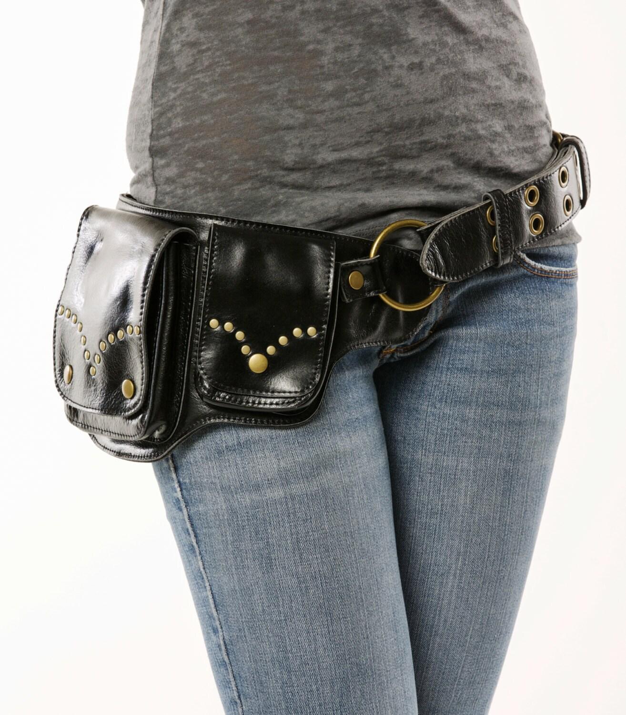 hip pack riveted design leather utility belt black