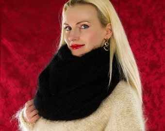 Made to order hand knit infinity mohair scarf in black by SuperTanya