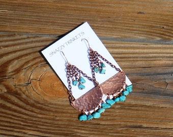 Bohemian Earrings, Turquoise Earrings, Large Dangle, Boho Fashion, Gypsy Style, Large Earrings, Bohemian Turqouise, SouthWestern, Copper