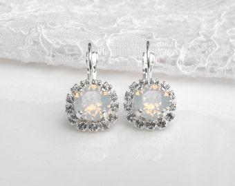 White Opal Wedding Earrings Winter Wedding White Wedding White Bridesmaids White Opal Swarovski Crystal Silver Dangle Bridal Earrings