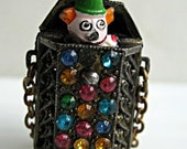 Vintage Mechanical Clown Pendant, Rare Pop Up Charm, Jack in the Box, Puppet, Toy Clown