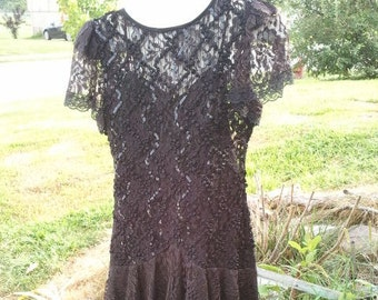 Vintage 1980's Black Lace Prom Dress size 8