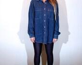 90's Denim Levis Oversized Boyfriend Button Up Top Jean Shirt // Women's Medium M