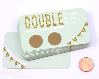 10 Twin Mint and Gold Baby Gender Reveal - Baby Shower Scratch Off Cards - Gender Reveal - Baby Shower Game - Guess The Gender