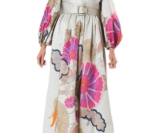 1960s Bill Blass Hand Painted Evening Gown   Size:XS/S