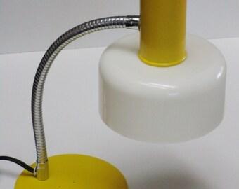 Retro Yellow Metal and White Plastic Gooseneck Desk Lamp