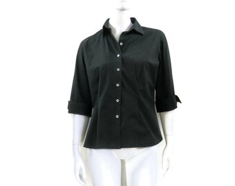 Anne Fontaine Black Button Down w/ 3/4 Sleeves French Designer