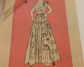 Vintage 1950s  Mail Order Pattern 4735  Misses Dress with Drop Waist Size 16  Factory Fold