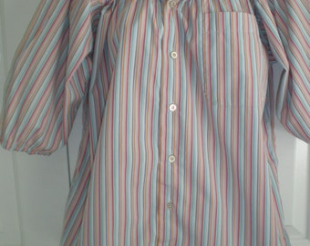 Peasant Blouse, upcycled from a men's shirt 52 inch L, multi candy stripe