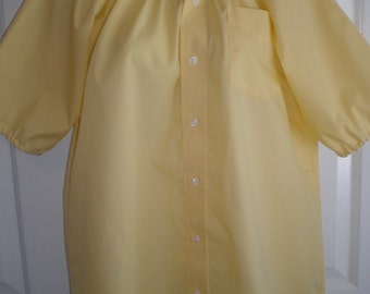 Peasant Blouse upcycled from a men's shirt, 48 inch Large, sunshine yellow