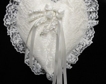 Vintage Wedding Pillow Ring Bearer's Heart Pillow Ivory Satin and Lace