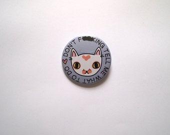 Angsty cat badge - Cute cat badge - White cat - I like cats - IDGAF - pink cat - cat pin - cat button - badge - cats - cat gift -