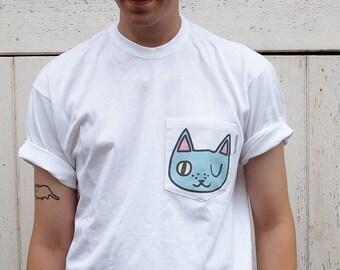 Winking Cat pocket tee - I like cats - Jasmine and Hobbes - Pocket tee - Pocket T shirt - Cat T shirt - Cat shirt - Cat tee - Cat pocket