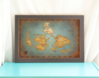 Final Fantasy VII World Map // Vintage Style Art Print // Gamer Print // Geeky Home Decor // Video Game Map