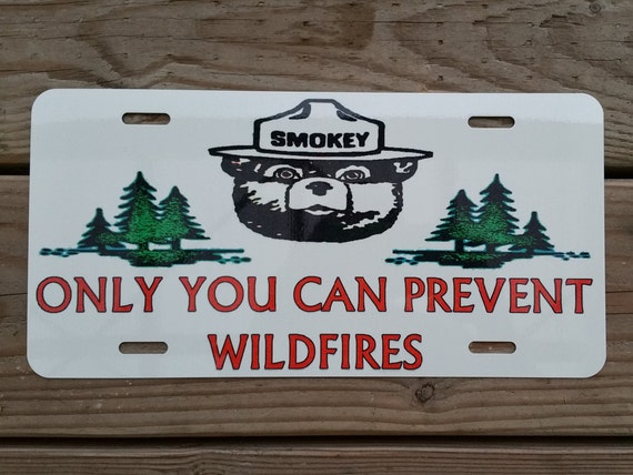 Smokey Bear License Plate Made In Usa Limited Edition