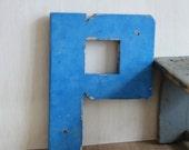 SALE - Vintage Letter P - Vintage Shop Signage Chunky Wooden Painted Letter P - Rustic Industrial Home Decor