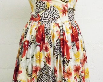 Vtg 50s Tropical Floral Fit & Flare Spaghetti Strap Maxi Dress, Small