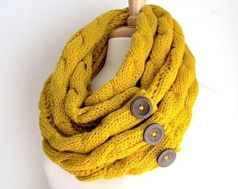 Mustard Infinity Scarf Braided Cable Knit Neckwarmer Yellow Gold Circle Loop Scarves with Buttons Women Girls Accessories