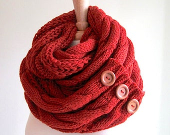 Infinity Scarf Braided Cable Knit Neckwarmer Scarves with Buttons Terracotta Russet Red Women Girls Accessories