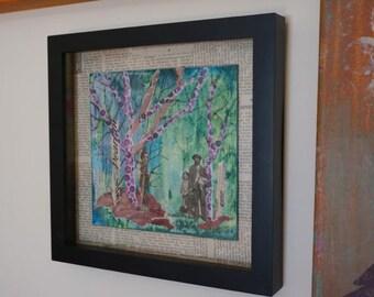 Purple Tree Collage by Marji Stevens, Framed Original