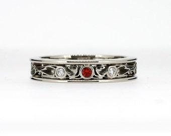 red sapphire filigree ring, white gold, Diamond, filigree, wedding band, red, filigree wedding ring, red wedding, unique, sapphire wedding