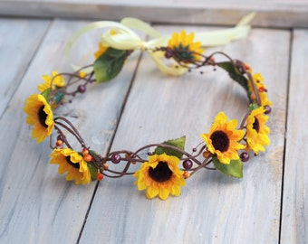 Sunflower Hair Accessory, Hippie Headband, Sunflower Hair Crown, Sunflower for Hair, Sunflower Bridal Accessory, Sunflower Headband