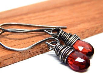 Garnet Earrings, birthstone jewelry garnet, birthstone gift, wire wrapped, sterling silver, January birthstone