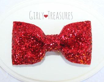 Red Glitter Bow. Bow Hair Clip. Baby Headband. Girl Headband. Newborn Headband. Photo Prop. Women Hairclip.