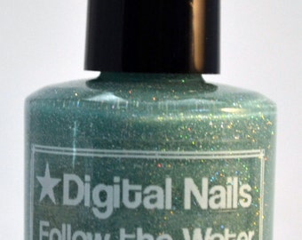 Follow the Water, a dusty aqua with holo flakes by Digital Nails