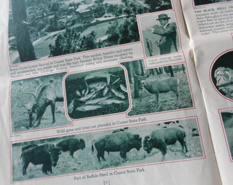 Vintage 1930s Black Hills of South Dakota Magazine Historical Travel guide in color Free USA Shipping