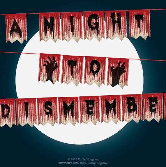 Zombie Halloween Banner A Night To Dismember Printable DIY