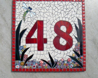 Mosaic House Number Plaque,Dragonfly,address sign,door numbers,wall hanging,outdoor,bespoke,mosaic plaques,yard,garden,handmade,uk,ornament,