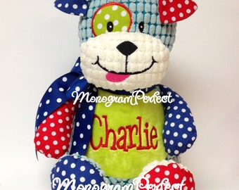 Personalized, Monogrammed Stuffed Patchwork Puppy Dog
