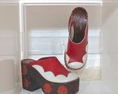 RESERVED 70s Leather & Cork Wooden Platform Heels 1970s Red and White Polka Dot Cork Platforms Clogs Mules Made in Italy Size 6 6.5 EU 36 37