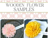SAMPLES – Wooden Flower Wedding Place Cards / Escort Cards -- Perfect for a Rustic Chic, Garden or Fall Wedding Theme