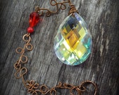 Sun Catcher Aurora Borealis and Hand made copper link chain Red accent beads